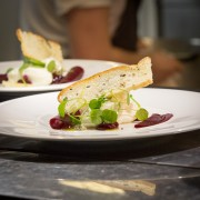 Wine School of Cheshire Goats Cheese Mousseline with beetroot